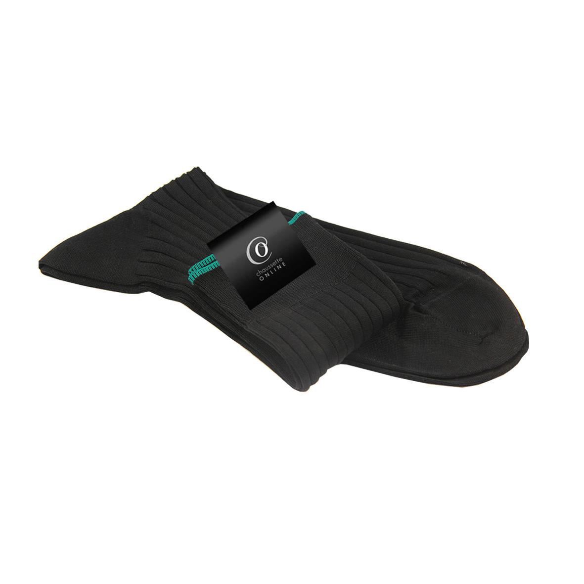 Chaussette noir bord vert, Vasco