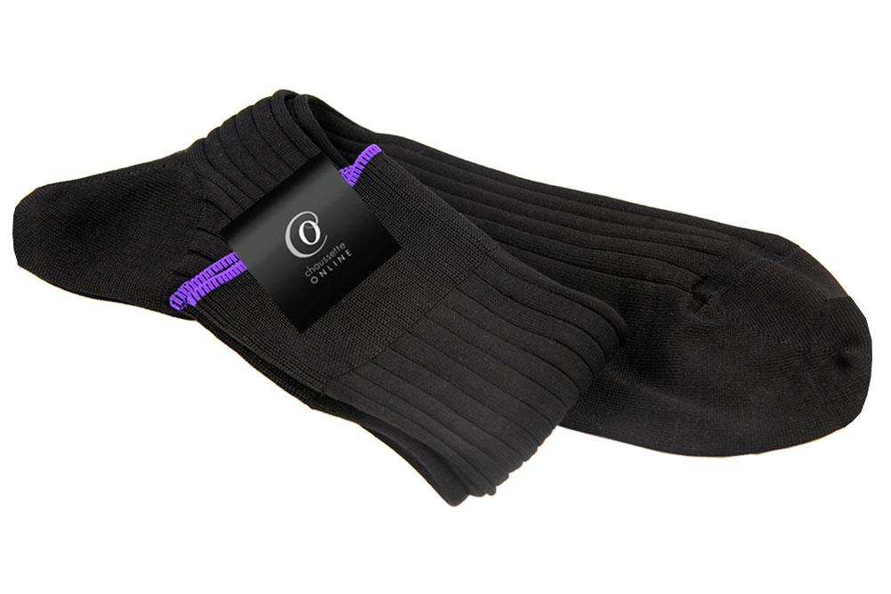 Chaussette Valère, Noir bord violet