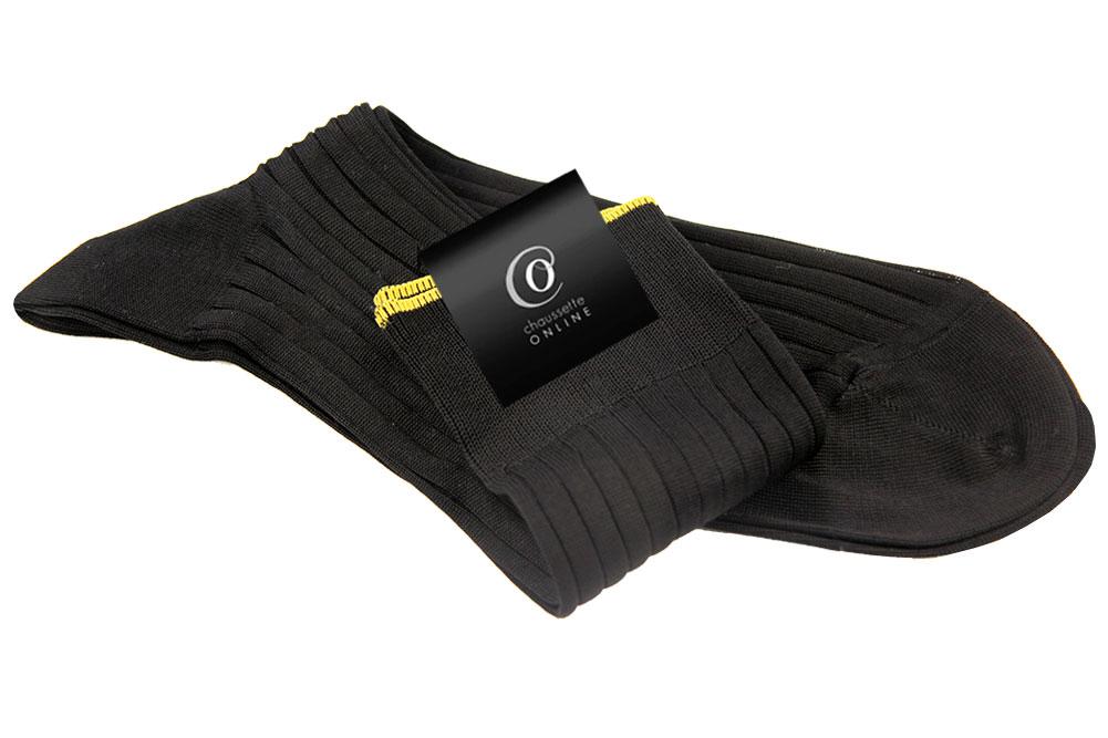 Chaussettes Jasper, Noir bord jaune